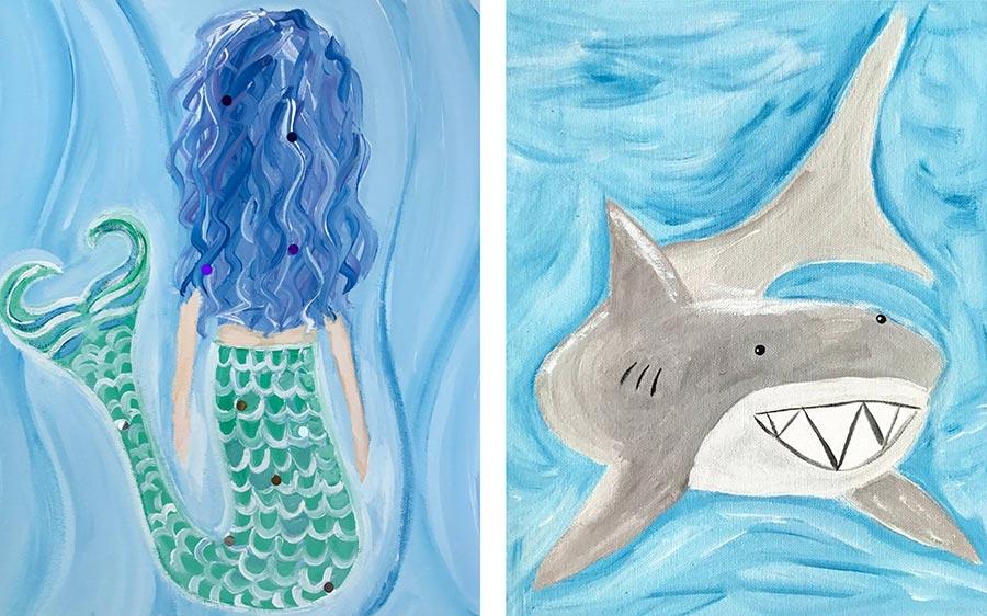 Kids painting of shark and mermaid